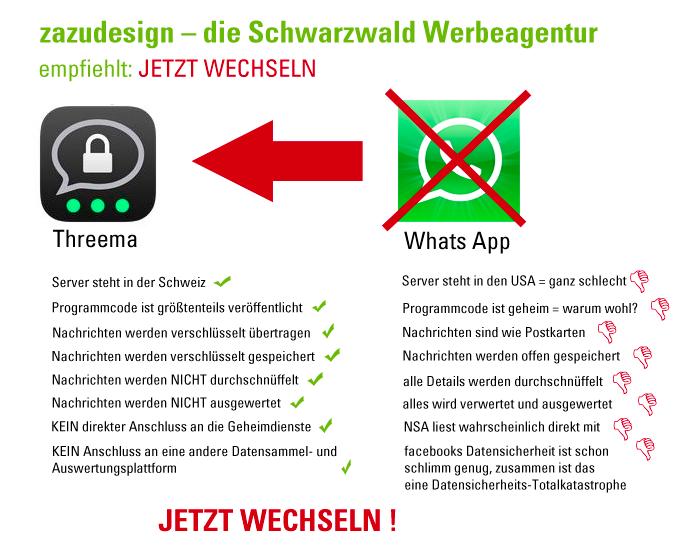 Aufforderung von zazudesign – die Schwarzwald Werbeagentur zu Threema zu wechseln.