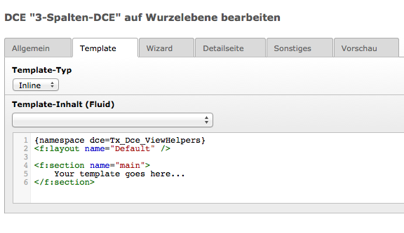 DCE-Template Vorgabe