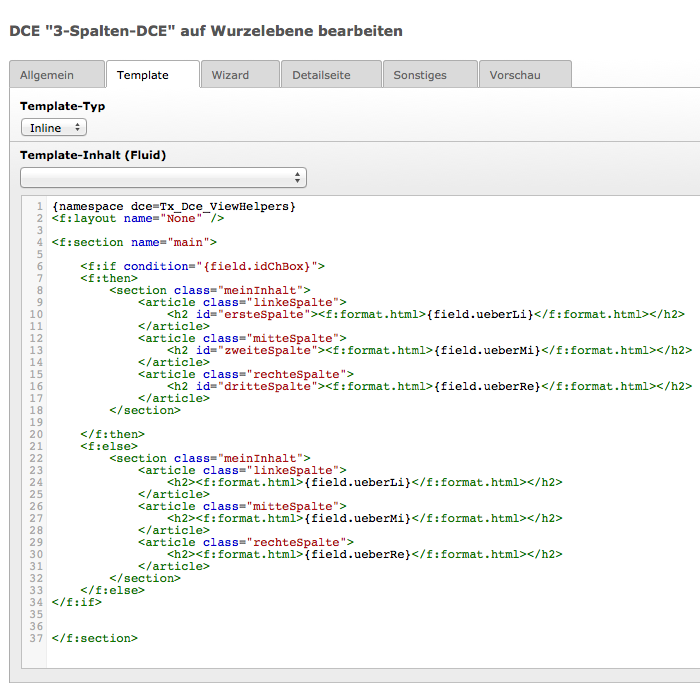 DCE-Template mit einem if-view-helper erweitert