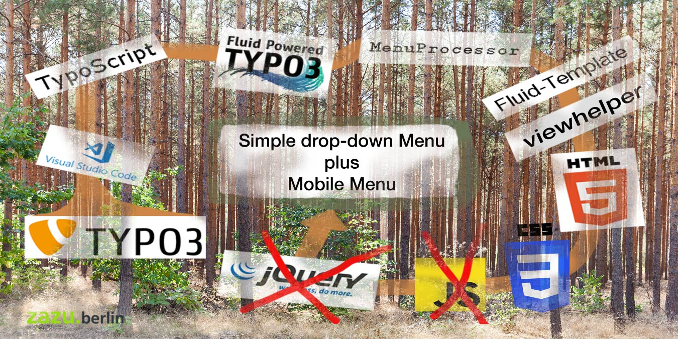Simple drop-down Menu plus Mobile Menu using TYPO3-Fluid + HTML5 +